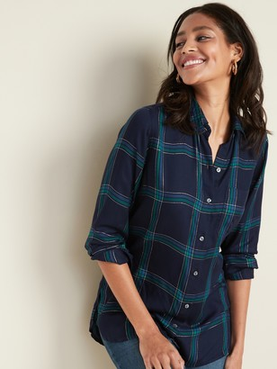 Old Navy Plaid Drapey Flannel Tunic Shirt for Women