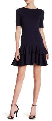 Love...Ady Short Sleeve Double Ruffle Ponte Dress