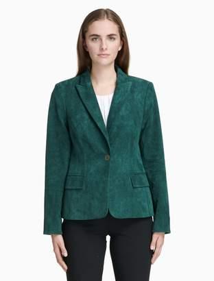 Calvin Klein suede peak lapel one button jacket