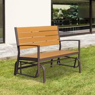 Outsunny Garden Glider Bench Wooden Metal 2 Seater Swing Chair Porch Outdoor Rocker