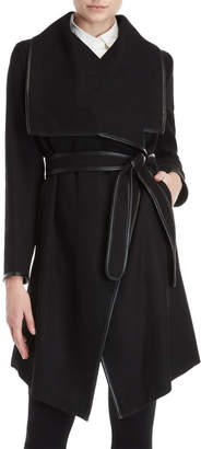 DKNY Faux Leather-Trimmed Belted Coat