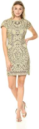 JS Collections Women's Cap Sleeve Embroidered Dress