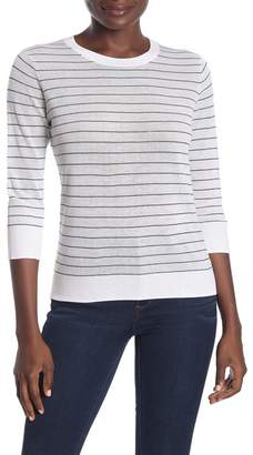 Vince Striped 3/4 Sleeve Knit Top
