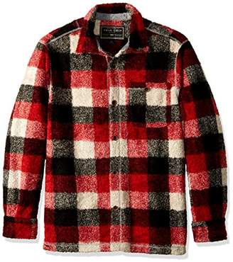 True Grit Men's Melange Solid and Plaid Blanket One Pocket Big Shirt