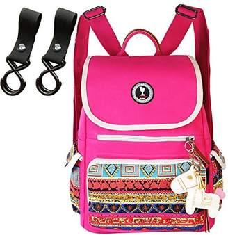 Lakeausy Designer 99% Canvas Changing Backpack Pink Nappy Bag Diaper Messengers Organiser Ruksack Rucksack