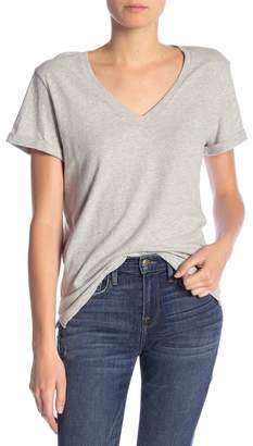 Frame Cuffed Short Sleeve V-Neck Tee