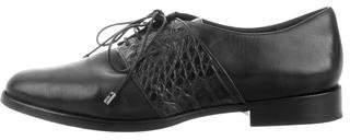Alexandre Birman Leather Crocodile-Trimmed Oxfords