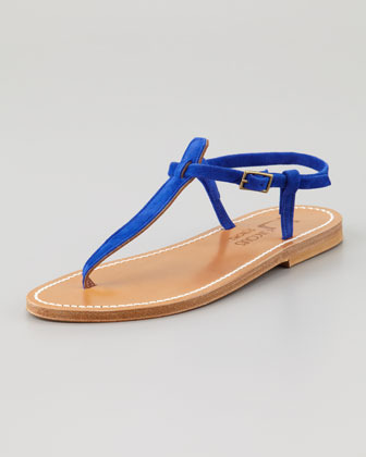 K. Jacques Picon T-Strap Thong Sandal, Blue