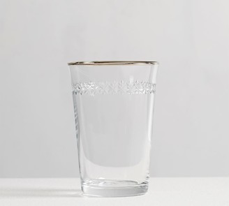 Pottery Barn Etched Star Metallic Rim Tumbler