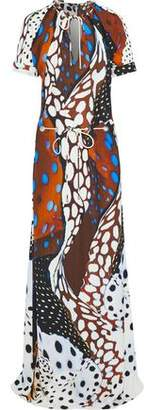 Roberto Cavalli Bow-Detailed Printed Crepe Gown