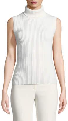 Michael Kors Cashmere Ribbed Sleeveless Turtleneck Sweater