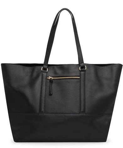MANGO Zip leather shopper bag