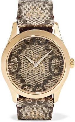 Gucci Printed Coated-canvas And Gold-tone Watch - Brown