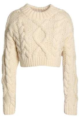 DKNY Cropped Open-Back Cable-Knit Merino Wool Sweater
