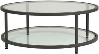Offex Camber Round Coffee Table-Pewter/Clear Glass