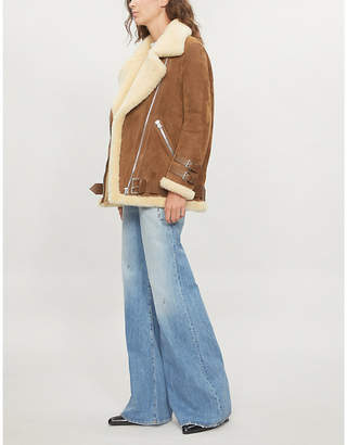 Acne Studios Velocite shearling-trimmed suede jacket