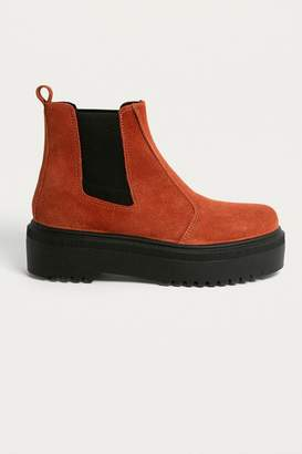 Urban Outfitters Brody Tan Suede Platform Chelsea Boot