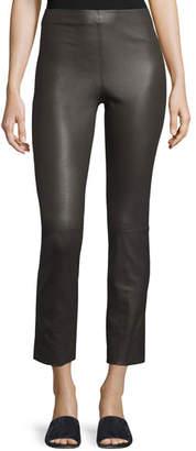 Vince Leather Split Hem Cropped Pants