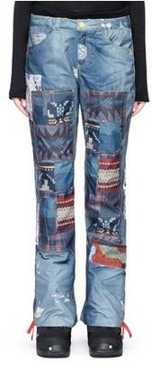 Burton x L.A.M.B. 'Buju' patchwork denim print cargo snowboard pants $200 thestylecure.com