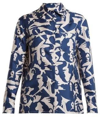 La Doublej - Boy Donne Print Silk Shirt - Womens - Blue White