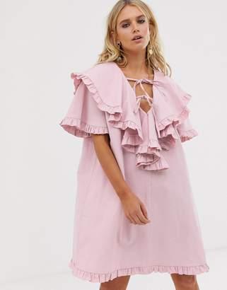 Sister Jane mini smock dress with ruffle bib layer
