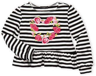 Kate Mack For Biscotti (Girls 4-6x) Floral Heart Stripe Top