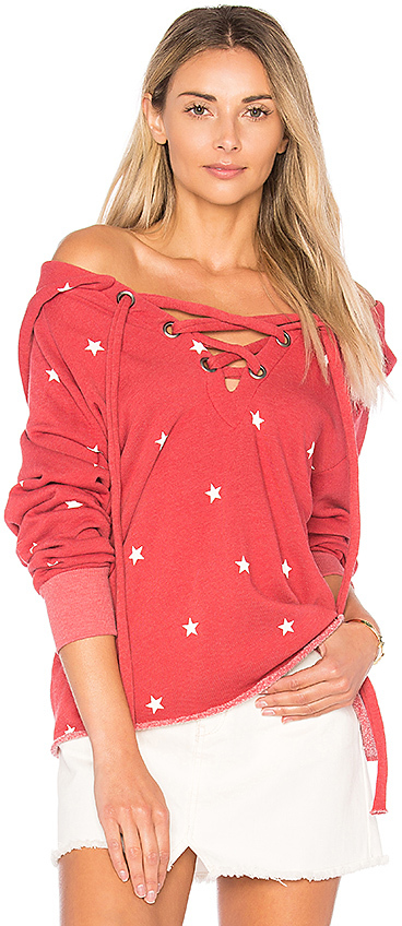 Wildfox Couture Football Star Hoodie in Red