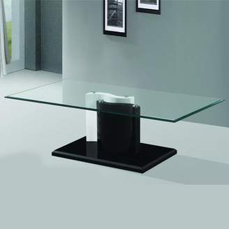 Fab Glass and Mirror The Kernel Tempered Glass Coffee Table with Black and White Glossy Base
