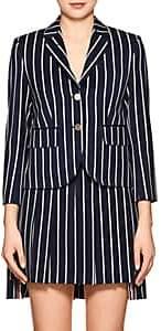 Thom Browne Women's Striped Wool-Cotton Three-Button Blazer - Navy