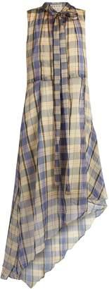 Marni Asymmetric madras-checked midi dress