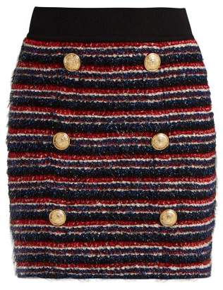 Balmain Striped Tweed Skirt - Womens - Navy Multi