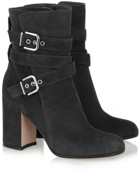 Gianvito Rossi Buckled suede ankle boots