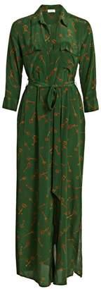 L'Agence Cameron Key-Print Silk Shirtdress