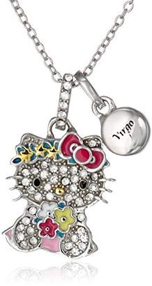 Hello Kitty Zodiac Sterling Pave Crystal Enamel Full Body Aquarius Pendant Necklace