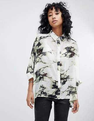 Religion Oversized Shirt In Shatter Print