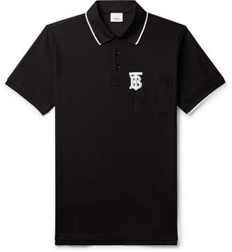 Burberry Logo-Embroidered Contrast-Tipped Cotton-Pique Polo Shirt - Men - Black