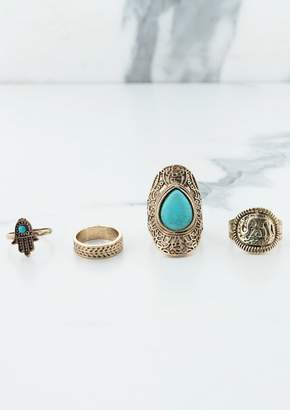 Missy Empire Missyempire Khlara Gold Multi Set Turquoise Stone Rings