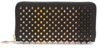 Christian Louboutin Panettone Embellished Zip Around Leather Wallet - Womens - Black Multi
