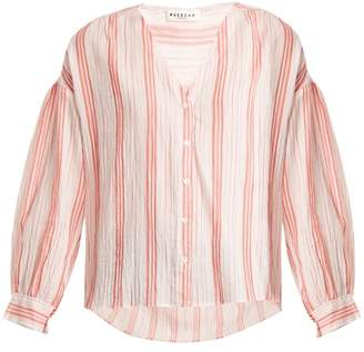 Masscob V Neck Striped Cotton Top - Womens - Pink Stripe