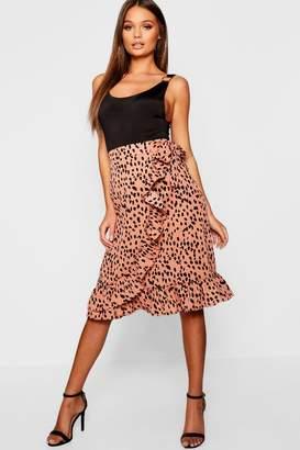 boohoo Dalmation Spot Wrap Midi Skirt
