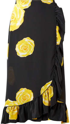 Ganni Wrap-effect Floral-print Washed-silk Midi Skirt - Black