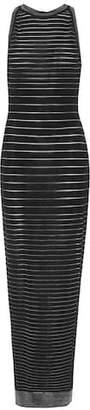 Balmain Metallic striped knit maxi dress