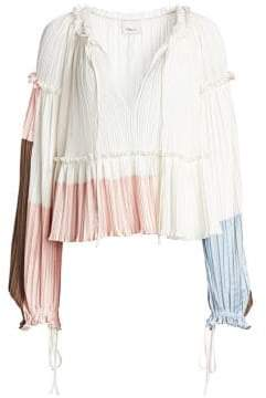 3.1 Phillip Lim Pleated Peplum Crop Blouse