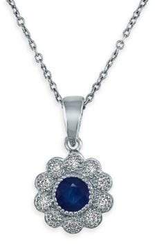 Effy 14K White Gold, Sapphire, & Diamond Flower Pendant Necklace