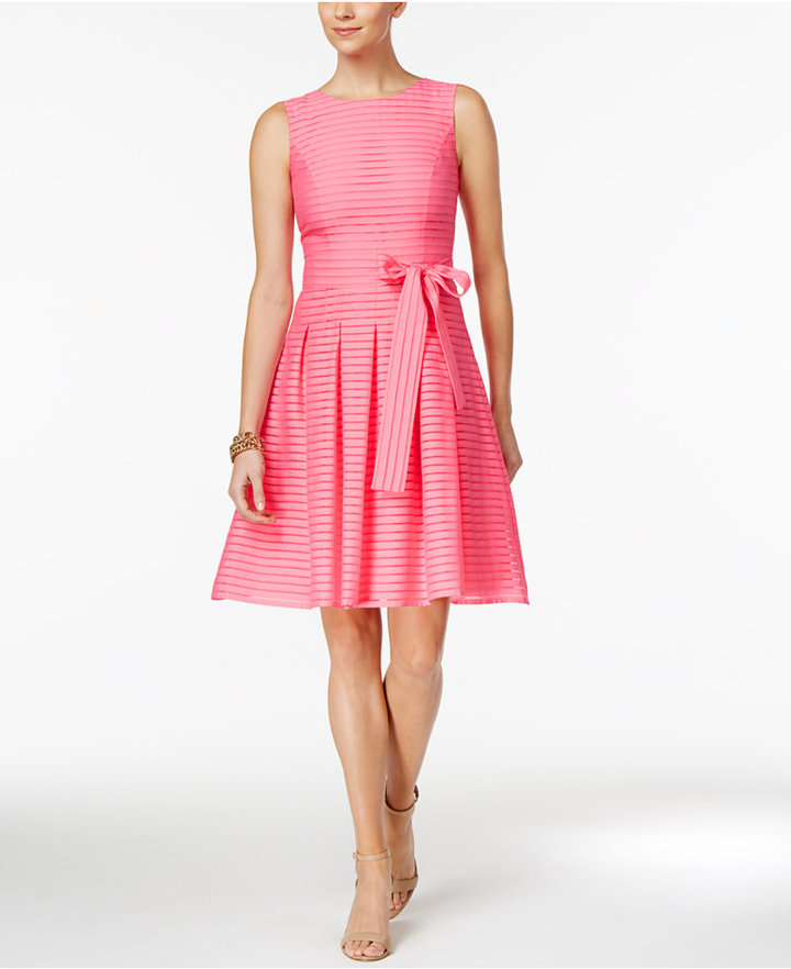 Tommy Hilfiger Illusion-Striped Fit & Flare Dress