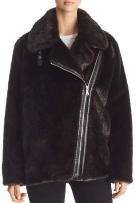 KENDALL + KYLIE Oversized Faux Mink Moto Jacket