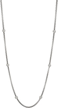 "Jai JAI Sterling Silver Station 3.7mm Box Chain 36"" Necklace, 57.2g"