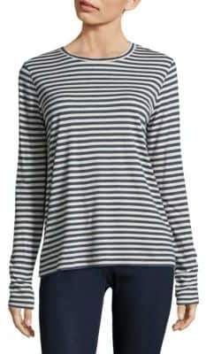 Vince Silk-Blend Striped Long Sleeve Tee