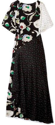 Jason Wu GREY Crinkled Printed Silk-chiffon And Crepe De Chine Maxi Dress