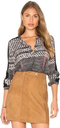 Michael Stars Long Sleeve Contrast Rib Sleeve Panel Button Up Shirt $148 thestylecure.com